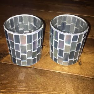 Other - Blue Glass Candle Holders- Pair